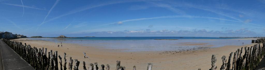 vue de la plage de l'éventail à marée basse
