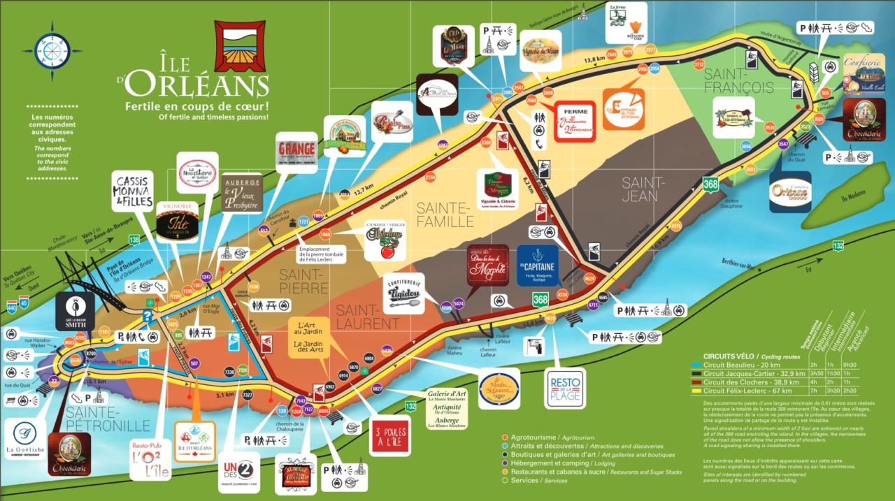 Visiter l'île d'Orléans à vélo : carte des circuits